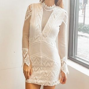 White Floral Crochet Bodycon Dress With Cutouts